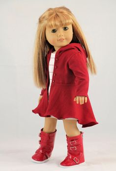 American Girl Doll Clothes Red Hyde Park Hoodie by NoodleClothing