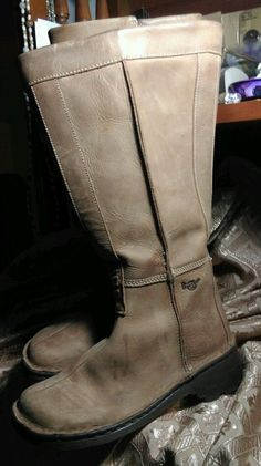 Dr Martens Tall Zipper Boots Free Shipping UK5 Tan Leather   eBay
