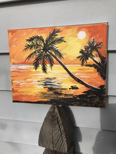 Tropical paradise palm tree sunset orange dawn tarr original painting on canvas art textured signed dated by dawntarr on Etsy https://www.etsy.com/listing/512171975/tropical-paradise-palm-tree-sunset