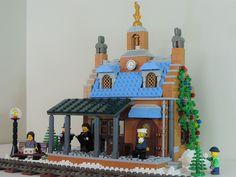 Posted Image Lego Christmas, Christmas Ornaments, Lego Train Station, Lego Winter, Lego Trains, Lego House, Winter Theme, Model Trains, Lego Sets