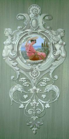 Panneau décoratif ornementation baroque en trompe-l'oeil sur patine
