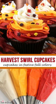 Harvest Swirl Cupcakes - these cupcakes in festive fall colors are a delicious Fall Dessert that you Thanksgiving Cupcakes, Swirl Cupcakes, Yummy Cupcakes, Baking Cupcakes, Mini Cakes, Cupcake Cakes, Cake Pops, Cupcake Recipes, Dessert Recipes