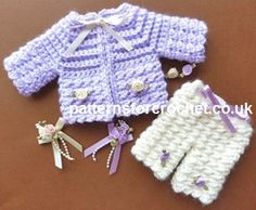 CROCHET BABY GIRL Free baby crochet pattern micro preemie set usa Size to fit: approx in length micro Premature Baby Preemie Crochet, Baby Girl Crochet, Crochet For Kids, Free Crochet, Crochet Baby Sweaters, Baby Knitting, Knitted Baby, Crochet Doll Clothes, Crochet Dolls