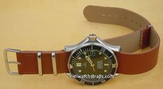 NATO Brown Leather Watch Strap For Omega Seamaster & Omega Planet Planet Ocean Watches
