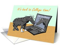 It's back to College time,sad dog and laptop.humor. card