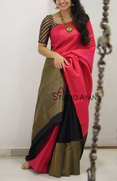 Discover thousands of images about Glorious Pink-Black Colored Soft Silk Party Wear Saree Kerala Saree Blouse Designs, Blouse Designs Silk, Bridal Blouse Designs, Trendy Sarees, Stylish Sarees, Designer Saree Blouses, Pattern Blouses For Sarees, Buy Designer Sarees Online, Saree Blouse Patterns