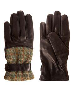 Simon Carter Dark Brown Harris Tweed Leather Gloves | Men's Accessories by Simon Carter | Liberty.co.uk