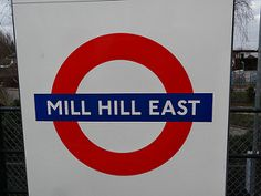 Mill Hill East London Underground Station in London, Greater London London Underground Train, London Underground Stations, London Transport, Greater London, London Street, Street Signs, East London, Banquet, Badges