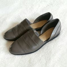 Host Pick! Gray Leather Mules/Flats H by Halston mules/flats. Size 7. Leather upper. Minor scratches few spots on the shoes (see 3rd photo) from trying and storage but never been worn. H by Halston Shoes Flats & Loafers