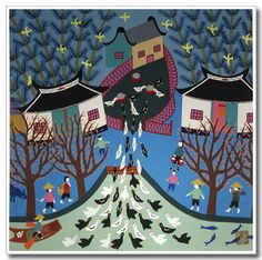 Chinese peasant painting, folk art, ducks returning home, village