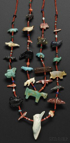 - CONTEMPORARY SOUTHWEST NECKLACE, THE QUANDELACY FAMILY, TWO STRANDS OF RED CORAL WITH VARIOUS FETISHES CARVED BY VARIOUS MEMBERS OF ... - Skinner Inc