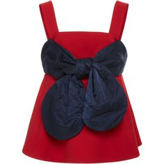 Cotton Bow Front Peplum Top | Moda Operandi ($220) ❤ liked on Polyvore featuring tops, spaghetti-strap top, bow front top, peplum top, bow peplum top and strappy top