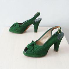 1940s green platform heels / vintage 40s peep toe by Coralroot, $148.00