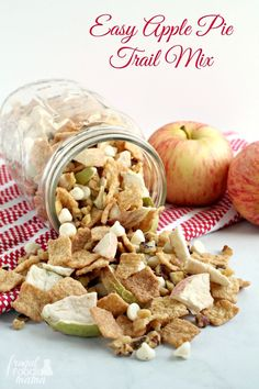 Whip up this fall inspired Easy Apple Pie Trail Mix in just minutes with only 4 simple ingredients. #sponsored