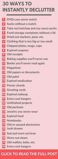 Getting Organized and what to declutter to get organized at home - Useful life hacks! Helpful Cleaning list of things to declutter and throw away when getting organized at home hacks 1 diy hacks hacks of life hacks Organisation Hacks, Organizing Hacks, Organizing Your Home, Life Organization, Cleaning Hacks, Organising, Decluttering Ideas, Room Cleaning Tips, Cleaning Checklist