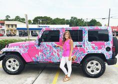 Prep My Ride - Lilly Pulitzer preppy jeep Preppy Girl, Preppy Style, My Dream Car, Dream Cars, Preppy Car Accessories, Jeep Cars, Jeep Jeep, Pink Jeep, Estilo Preppy