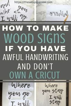 Easy DIY farmhouse wood signs without a stencil! DIY rustic wood signs like you see at Hobby Lobby, for a fraction of the cost! Diy Home Decor Projects, Diy Wood Projects, Diy Projects To Try, Decor Ideas, Craft Ideas, Diy Ideas, Diy Wood Crafts, Wood Board Crafts, Dremel Tool Projects