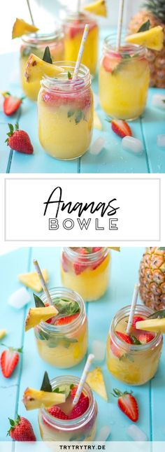 Ananas-Erdbeer-Bowle punch recipes non alcoholic Ananas-Erdbeer-Bowle Lemonade Punch Recipe, Strawberry Lemonade Punch, Homemade Strawberry Lemonade, Homemade Lemonade Recipes, Pineapple Lemonade, Strawberry Banana Smoothie, Pineapple Punch, Strawberry Blueberry, Cocktails