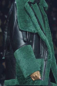 Oversized leathers and emerald shearling make for winter warmth at @kenzo #PFW #AW15