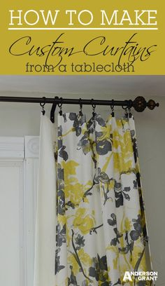anderson + grant: Custom DIY Curtains Made from a Tablecloth. Love these… Tablecloth Curtains, No Sew Curtains, How To Make Curtains, Rod Pocket Curtains, Custom Curtains, Panel Curtains, Decorative Curtains, Curtain Panels, Flat Sheet Curtains
