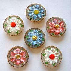6 Vintage (1950s) 3 Piece Floral Glass Paperweight Buttons, Pink/Blue/White