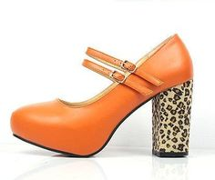 orange PU with leopard print heels @ trendy-stilettoheels.blogspot.com