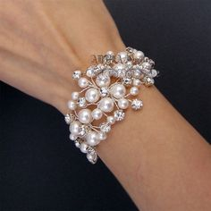 Bridal Bracelet, Gold Wedding Bracelets, Pearls Bracelets, Swarovski Pearls Rhienstone Vine Wedding Jewelry for Brides, Bridal Jewelry
