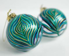 peacock ornaments... glass balls and paint pens?