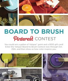 You could win a gallon of Valspar paint® and a $100 gift card! Enter the Valspar Board to Brush Contest now through Oct. 25th, and then show us how color inspires you. The first 100 entrants win a free Valspar® American Apparel® t-shirt. Click here to enter http://sweeps.piqora.com/ValsparBoardtoBrush. #ValsparBoardtoBrush