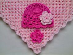 "Crochet Baby Blanket 35"" x 35"" and Baby Hat Set £37.90"