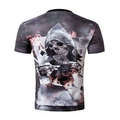 2016 Summer new 3d Men short sleeve t shirt men Skull Burning Print BLINDING Newest Design. Click visit to buy #T-Shirts