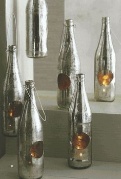 Roost Antiqued Mercury Glass Recycled Bottle Tealight Holders, Set/6 || Wedding Decor Inspiration || Selected by Finepointwedding.com