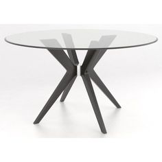 Canadel Downtown   Custom Dining Contemporary Customizable Round Glass Top  Table