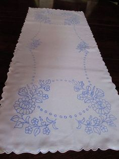 "Stamped Table Runner for Hand Embroidery Hungarian Kalocsa 33""x14"" floral roses #HungarianKalocsa"