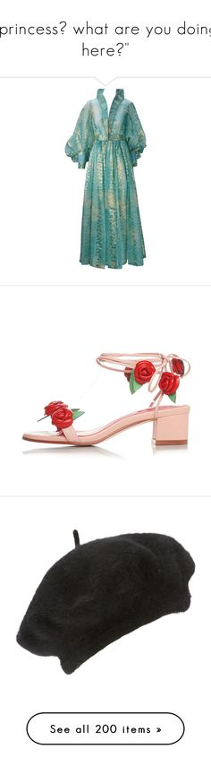 """""""princess? what are you doing here?"""" by rojinnn ❤ liked on Polyvore featuring blue, green slip, sheer slip, silk slip, blue slip, shoes, sandals, rose sandals, chunky heel shoes and rose shoes"""