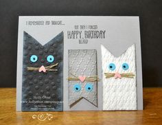 Fun cat card made with Stampin' Up! products. Remembering My Birthday stamp set for greeting. Perfect Polka Dots, Fancy Fan, and Argyle embossing folders for texture. Smoky Slate, Basic Black, and Whisper White for color combination.: