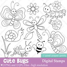 Alphabet Digital Stamps Part 6 - STUV clip art - School clipart Colouring Pages, Coloring Books, Embroidery Patterns, Hand Embroidery, Illustration Noel, Digi Stamps, Clipart, Adult Coloring, Stencil