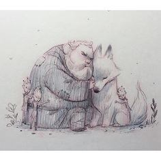 Hodor, Summer and the Children of the Forest art by Kei Acedera.