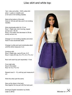 Barbie Knitting Patterns, Knitted Doll Patterns, Knitting Dolls Clothes, Barbie Clothes Patterns, Knitted Dolls, Clothing Patterns, Crochet Doll Dress, Crochet Barbie Clothes, Doll Clothes Barbie