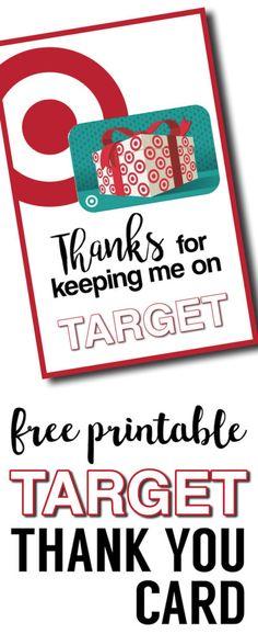 Target Thank You Cards Free Printable. DIY Teacher gift card idea. DIY Easy teacher appreciation gifts printable for Target gift card.Also a great coach thank you gift.