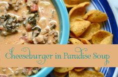 Cheesburger soup!  Almost soup weather, if you need to stock up on some new souper recipes here is one to try  :)