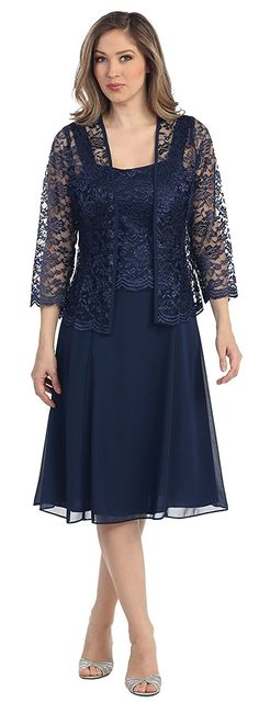 Womens Short Mother of the Bride Plus Size Formal Lace Dress with Jacket (Small, Black)