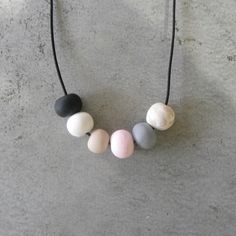 HANDMADE NECKLACE polymer CLAY organic neutral tones (tan marble concrete grey pink black white) beads beaded pendant chain