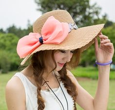 Bow wide brim straw sun hat for girls summer wear | Buy cool cap,fashion hats on buyhathats.com
