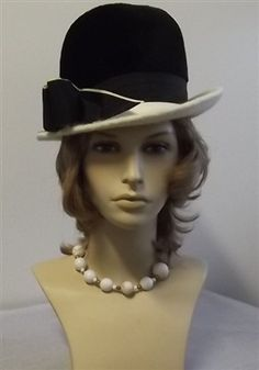 """""""Toby of London"""" """"Martelle Body Made in West Germany"""" Black & White Cloche Hat"""