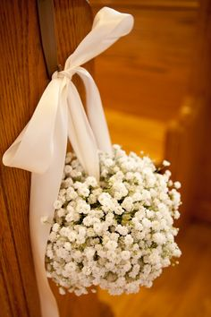 Gypsophila Pomander Aisle Flowers- a striking alternative to jam jar pew ends for a narrow aisle