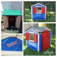 Free-cycled a little tikes playhouse into this! Used Rustoleum spray paint and the dragonfly stencil from Cutting Edge Stencils. http://www.cuttingedgestencils.com/butterfly-dragonfly-stencil.html
