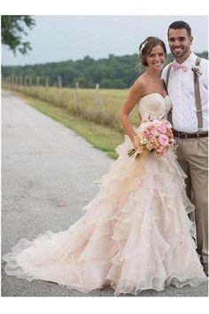 Spaghetti Straps White Lace Chiffon Beach Wedding Gowns,N07