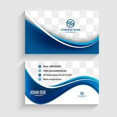 Modern visiting card with blue waves Free Vector Business Card Mock Up, Professional Business Cards, Business Card Design, Free Printable Business Cards, Visiting Card Design, Name Card Design, Corporate Brochure Design, Name Cards, Vector Freepik