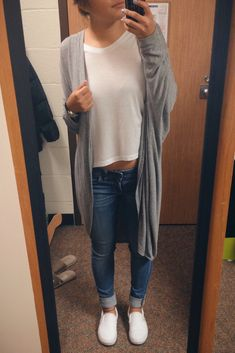 outfit white t shirt jeans blue white vans slip on shoes long gray cardigan style ideas